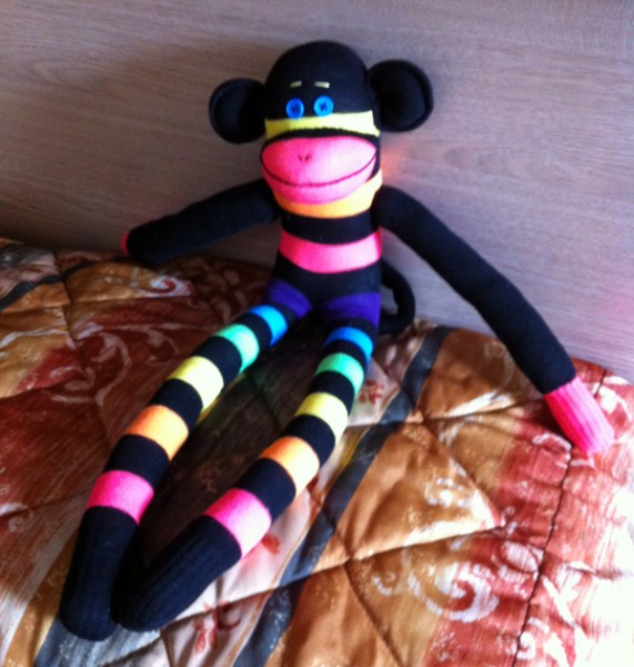 Happy neon sock monkey