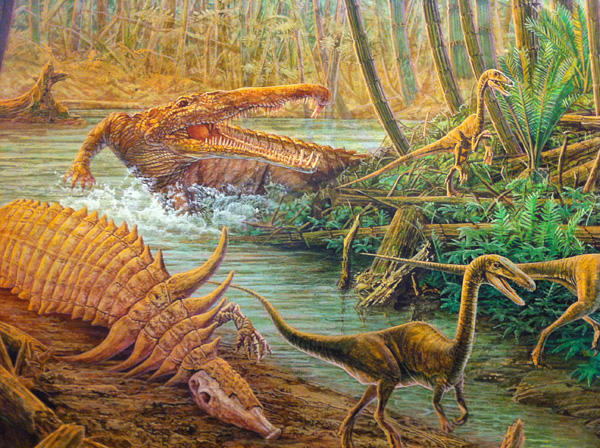 Phytosaur and Coelophysis