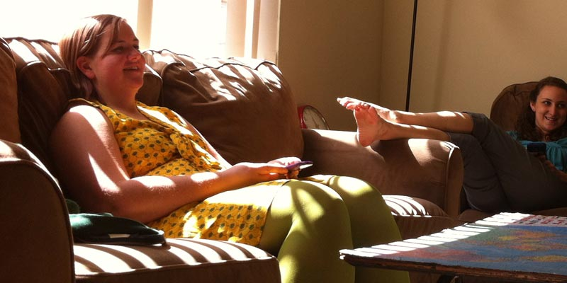 A lazy Sunday afternoon, basking in the sunlight, with Zelda tights :)