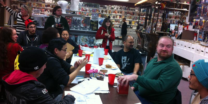 Comic book holiday party at Empire Comics in California